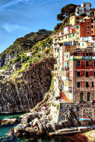 iPhone Wallpaper Italy, Cinque Terre, beautiful village, sea, houses, rocks