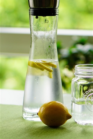iPhone Wallpaper Lemon, water, drinks, bottle, window