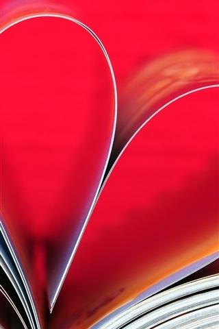 iPhone Wallpaper Love heart, book, paper
