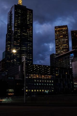 iPhone Wallpaper Melbourne, Australia, skyscrapers, city night, lights, clouds