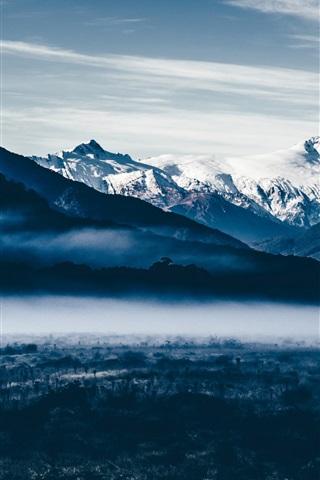 iPhone Wallpaper Mountains, snow, dawn, fog