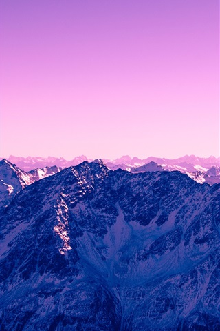 iPhone Wallpaper Mountains, snow, purple sky