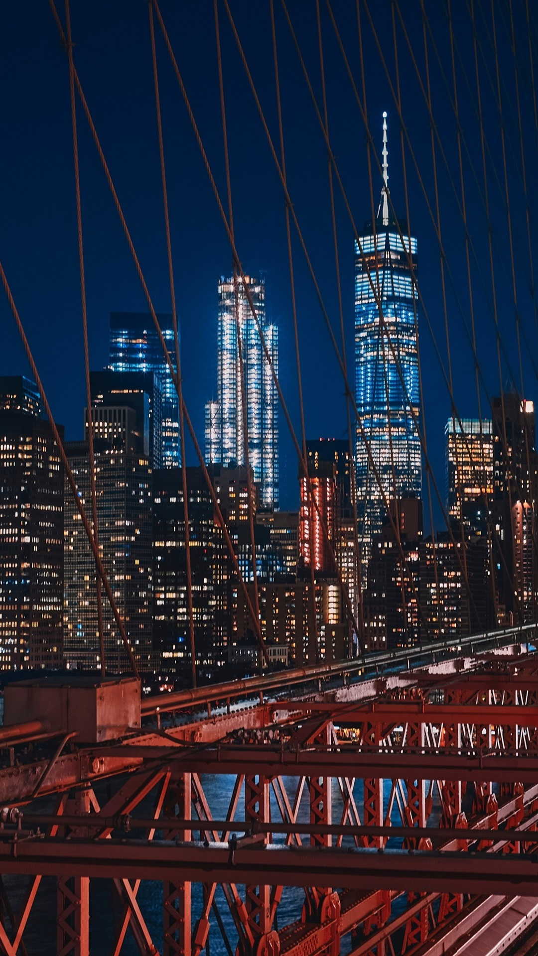 New York Usa Brooklyn Bridge Night Lights 1080x1920 Iphone 8 7 6 6s Plus Wallpaper Background Picture Image
