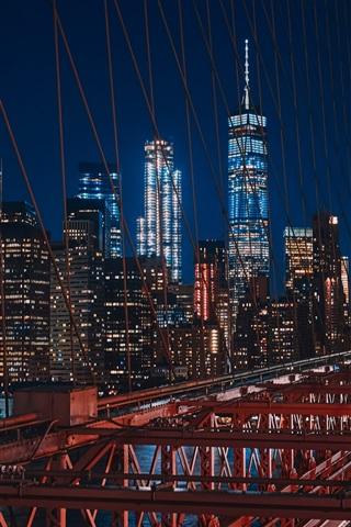 iPhone Wallpaper New York, USA, Brooklyn, bridge, night, lights