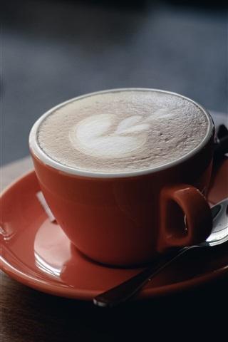 iPhone Wallpaper One cup coffee, cappuccino, foam