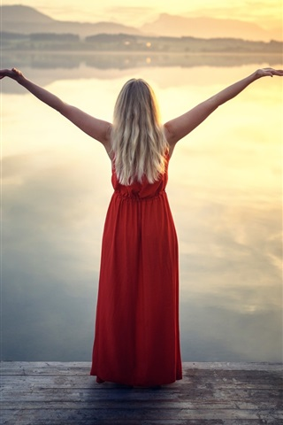 iPhone Wallpaper Red dress girl, back view, lake, clouds, sunset
