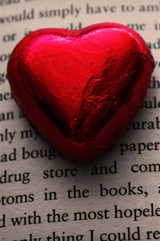 iPhone Wallpaper Red love heart candy, book