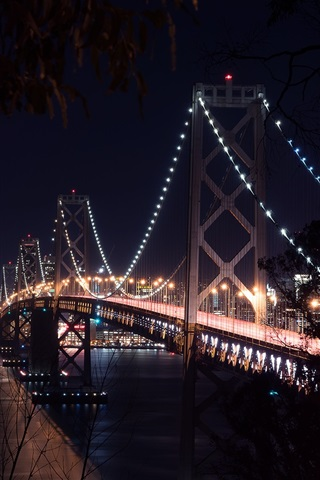 iPhone Wallpaper San-Francisco, bridge, bay, night, lights, USA