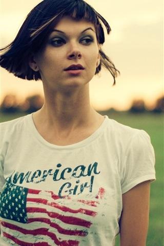 iPhone Wallpaper Short hair girl, grass, dusk
