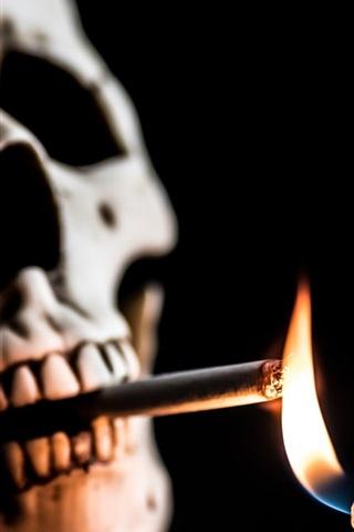 iPhone Wallpaper Skull, cigarette, fire, lighter