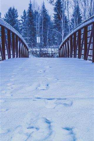 iPhone Wallpaper Snow, bridge, trees, winter