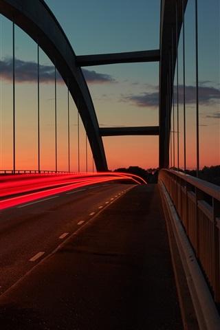 iPhone Wallpaper Sunset, bridge, light lines