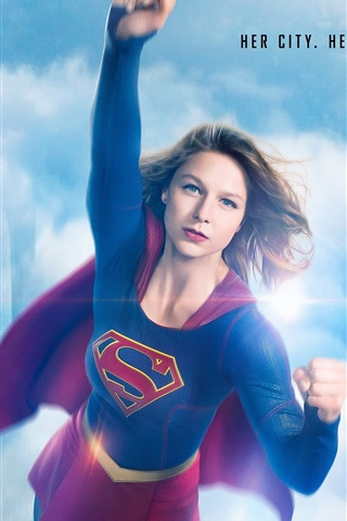 iPhone Wallpaper Supergirl, her city, her fight