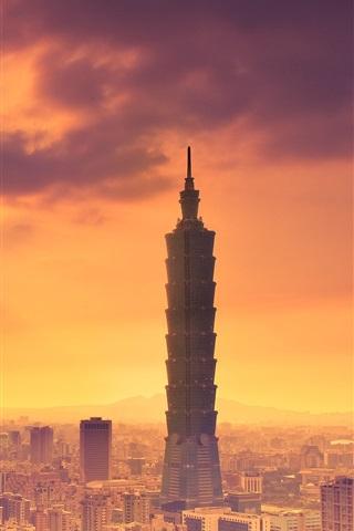 iPhone Wallpaper Taipei, Taiwan, Taipei 101 building, dusk, city