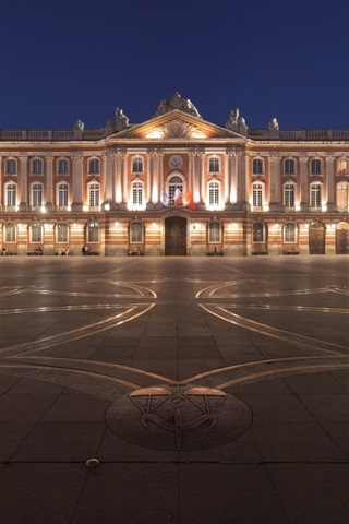 iPhone Wallpaper Toulouse, France, night, city, square, buildings