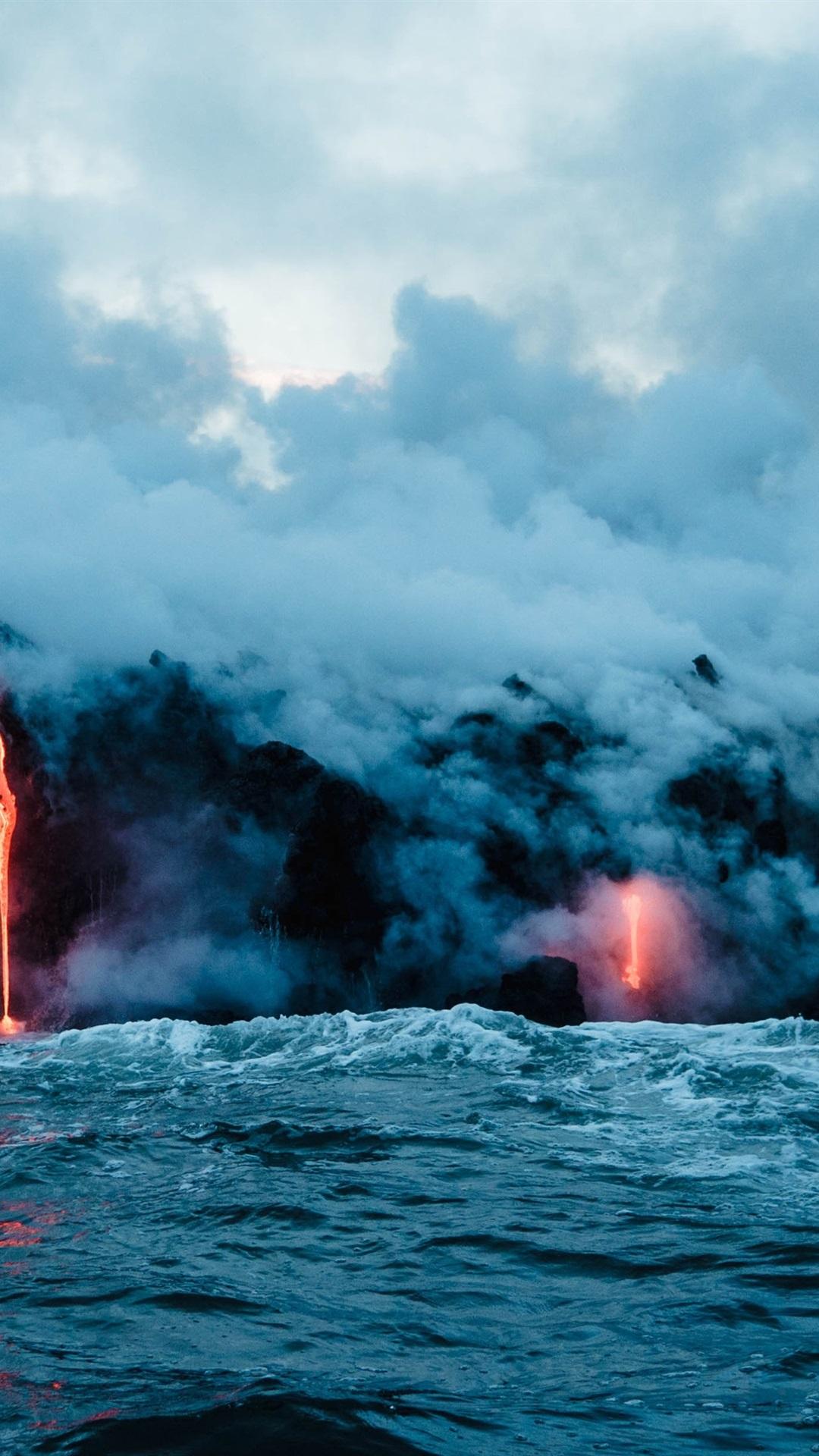 Volcano Lava Sea Smoke Nature Landscape 1080x1920 Iphone 8 7 6 6s Plus Wallpaper Background Picture Image