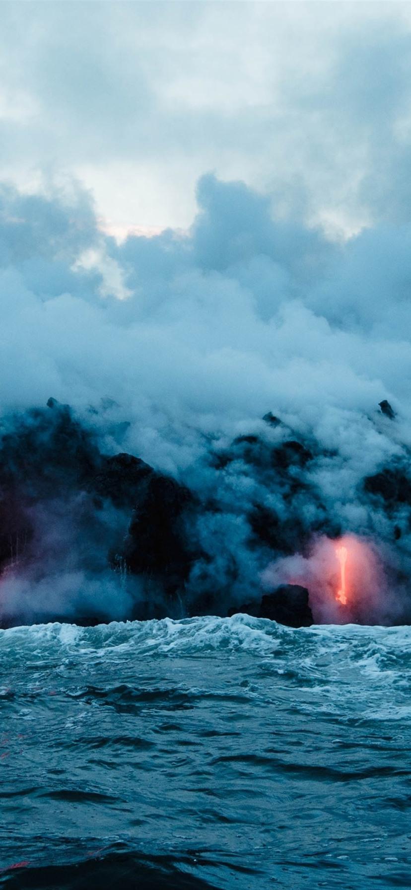 Wallpaper Volcano lava, sea, smoke, nature landscape ...
