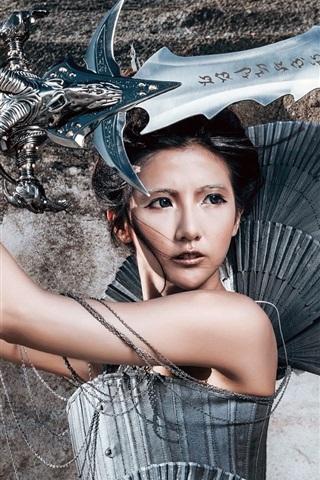 iPhone Wallpaper Warrior girl, Chinese, sword, retro