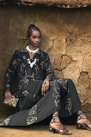 iPhone Wallpaper African girl, summer fashion dress
