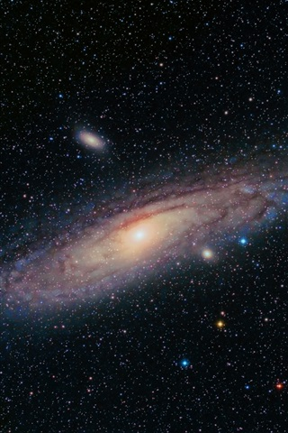 iPhone Wallpaper Andromeda Galaxy, universe, stars, black background
