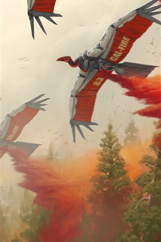 iPhone Wallpaper Art picture, helicopter, birds robot, fire