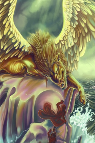 iPhone Wallpaper Art picture, monster, wings, sea