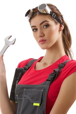 iPhone Wallpaper Asian girl, jumpsuit, glasses, key, mechanic