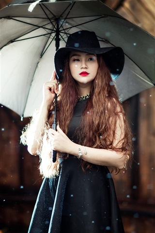 iPhone Wallpaper Asian girl, umbrella, rain