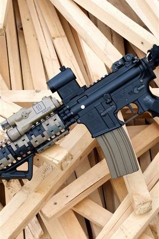 iPhone Wallpaper Assault rifle, wood