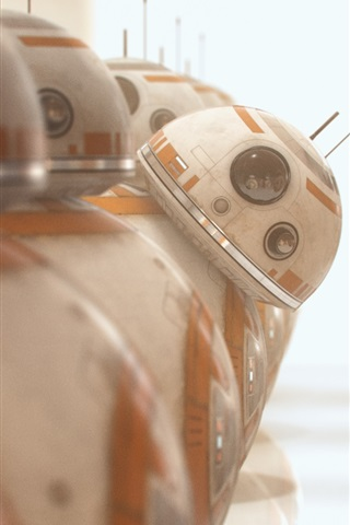 iPhone Wallpaper BB8 robots, one curious, Star Wars