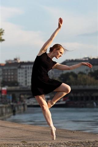 Ballerina Black Skirt Girl Dance River City 640x1136 Iphone 5 5s 5c Se Wallpaper Background Picture Image