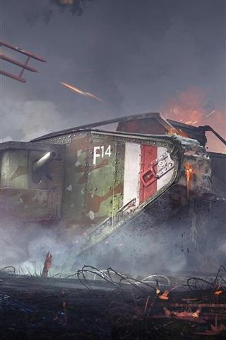 iPhone Wallpaper Battlefield 1, landship, war, trees