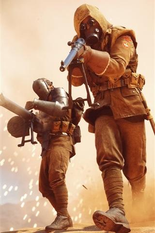 iPhone Wallpaper Battlefield 1, soldiers, fight