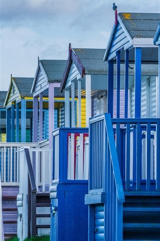 iPhone Wallpaper Beach houses, dusk
