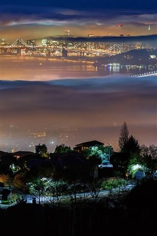 iPhone Wallpaper Berkeley, San Francisco, USA, city, night, lights, bridge, fog