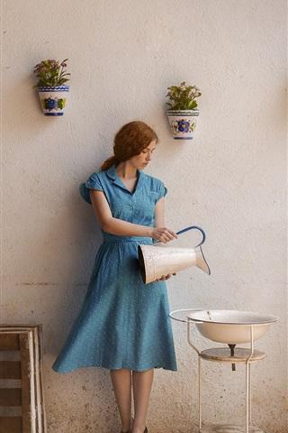 iPhone Wallpaper Blue dress girl, life, kettle, washbasin