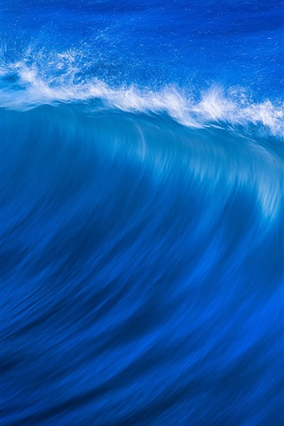iPhone Wallpaper Blue sea, waves, water splash, nature