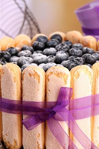 iPhone Wallpaper Blueberries cake, food