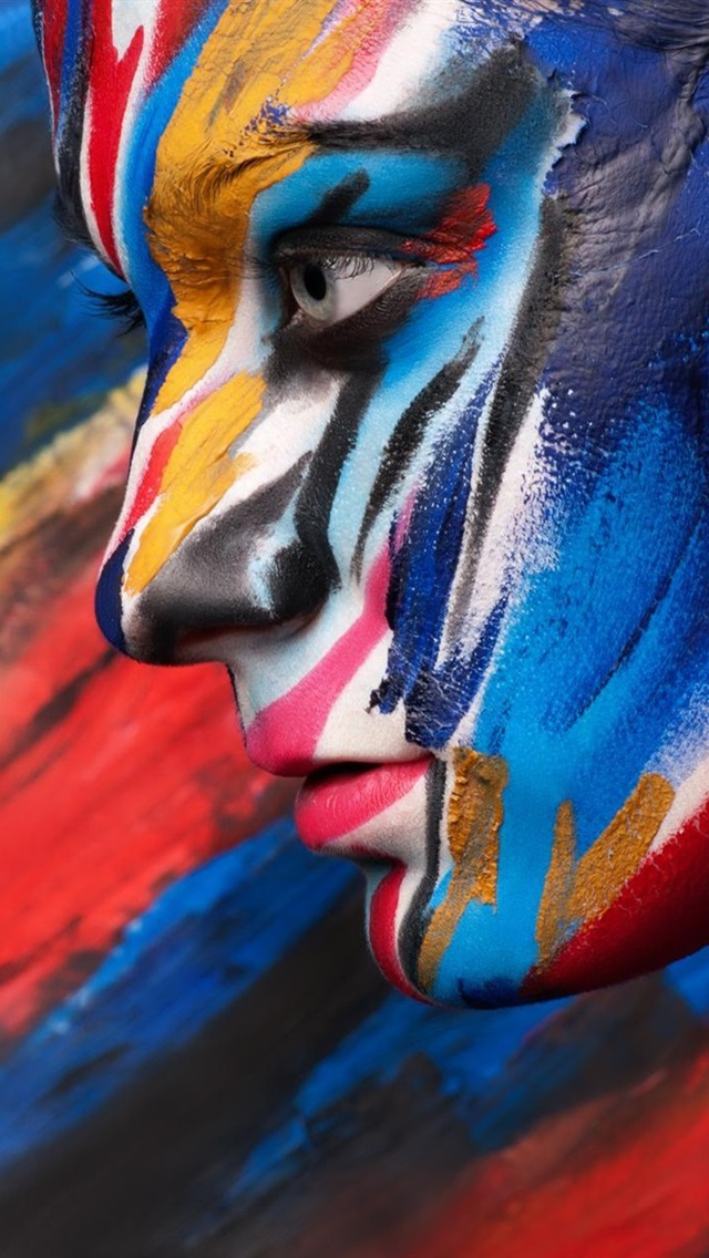 Body Art Paint Colorful Face Side View 640x1136 Iphone 5 5s 5c Se Wallpaper Background Picture Image