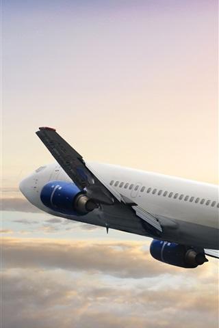iPhone Wallpaper Boeing passenger plane flight, sky, clouds