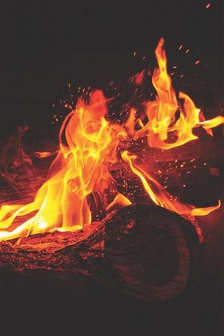 iPhone Wallpaper Bonfire, flames, sparks, fire, night