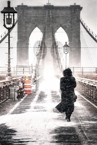 iPhone Wallpaper Brooklyn, Freeze, bridge, girl, winter