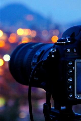 iPhone Обои Камера, ночь, блики