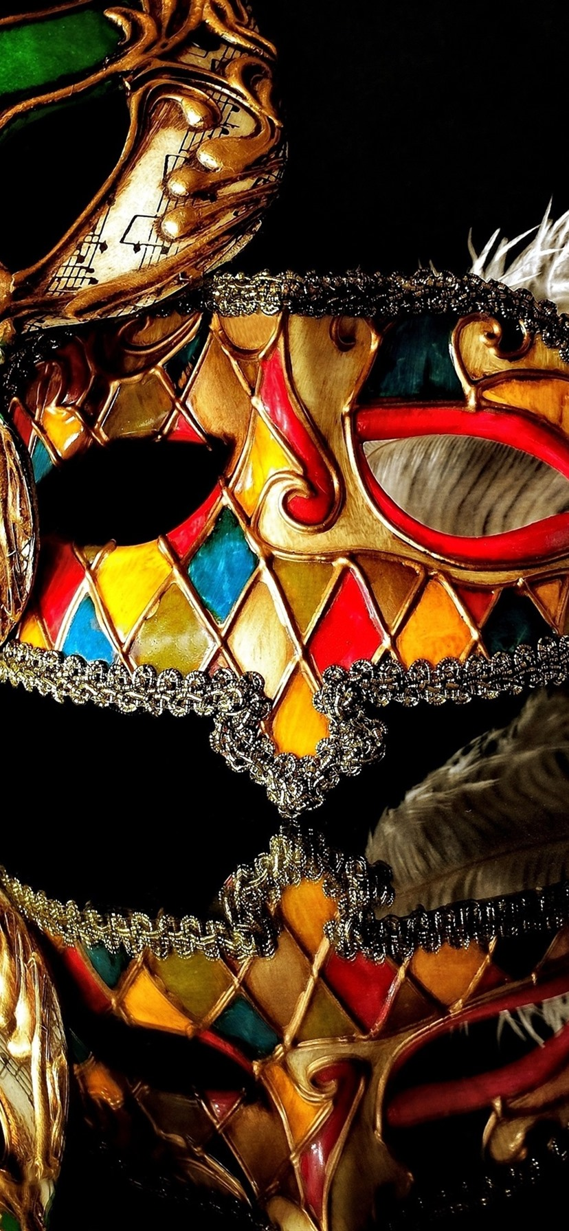 Wallpaper Carnival Mask Reflection Black Background 3840x2160 Uhd