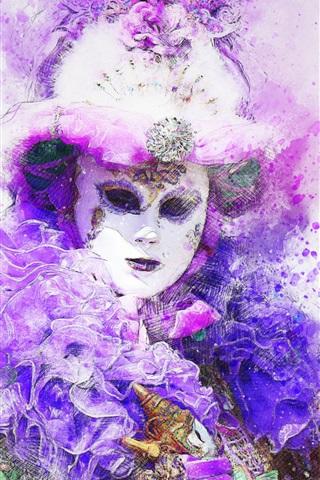 iPhone Wallpaper Carnival, mask, watercolor painting