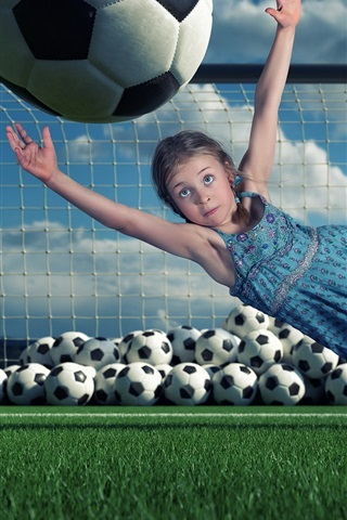 iPhone Wallpaper Child girl, defensive, football, jumping