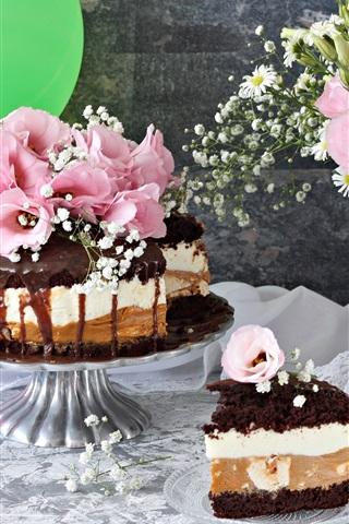 iPhone Wallpaper Chocolate cake, flowers