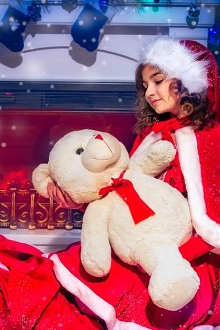 iPhone Обои Рождественская одежда девушка, медведь, камин, носки, снег