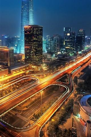 iPhone Wallpaper City night, buildings, roads, skyscrapers, lights, Beijing, China