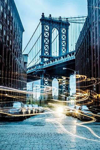 iPhone Wallpaper City, street, cars, buildings, bridge, light lines